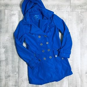 SEBBY COLLECTION Women's Blue Polyester Pea Coat